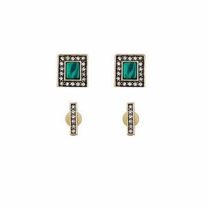 Chloe + Isabel Malachite & Pavé Stud Duo- Set of 2